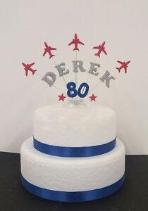 Aeroplane personalised  Birthday/ Celebration Cake Topper   (red arrows) planes
