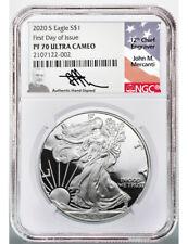 2020 S American Silver Eagle Fdoi Ngc Pf70 Ultra Cameo Mercanti Signed