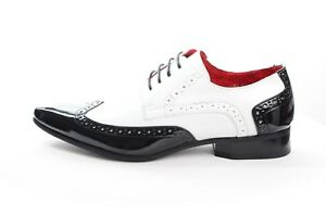 Mens Brogue Spat Dress Jazz Party Gangster Lace up Patent Shoes Black/White 7