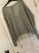 Miss Selfridge Size 16 Mint Green Lace Thin Jumper