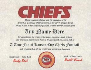 KANSAS CITY CHIEFS NFL TRUE FAN ~CERTIFICATE~DIPLOMA ~MAN CAVE ~ OFFICE #1  GIFT