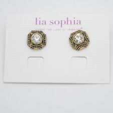 lia sophia jewelry vintage gold tone cut crystals stud earrings for women gifts