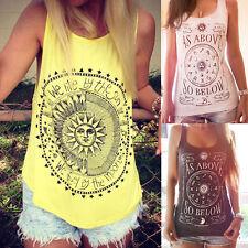 UK Summer Women Summer Vest Top Sleeveless Shirt Blouse Casual Tank Tops T-Shirt