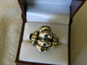 LAGOS CAVIAR 18K GOLD & STERLING SILVER RING SIZE 7-1/2