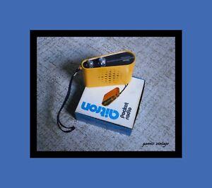 aitron AIE-1441-E NIB pocket radio MW & LW 6 TRANSISTOR 1 DIODE Yellow Retro