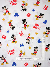 Disney Mickey Mouse Toss Oh Boy White Cotton Fabric Springs CP65234 By The Yard