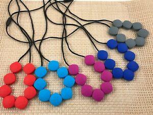 Silicone Diamond Bead Breastfeeding Teething Necklace & Breakaway Clasp 80cm