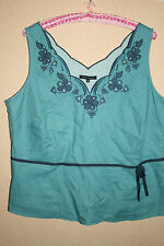 Pretty turquoise sleeveless top with scalloped neck, navy blue embroidery, UK 20