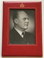 Cadeau Cadre roi Olaf de Norvège avec Original Signature, pour 1957, rare!