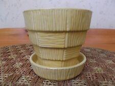 Vintage McCoy Basketweave Flower Pot w/attached Saucer  *EVC*
