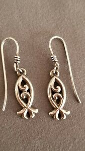 James Avery Sterling Silver Ichthus Swirly Fish Earrings