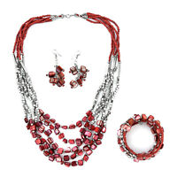 Stainless Steel Seed Bead Drop Earrings Wrap Bracelet Multi Strand Necklace Set