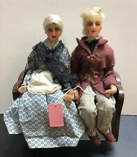12� Wax Artist Made Heads Doll W/ Cloth Body Older Couple On Bench As Is #S