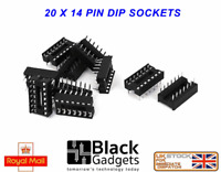 20 x high quality 14 Pin DIL / DIP IC Chip Socket FREE POSTAGE shipped from U.K