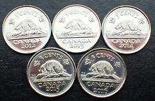 5 X Canadian Nickel 5 cents Coin Canada 2012, 2013, 2014, 2015 & 2016 UNC.