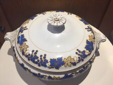Booths Footed Silicon China Tureen with Lid with Blue Grape Vine Design
