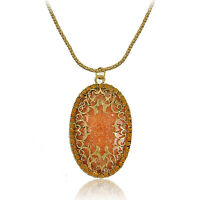 Fashion Brown Amber Hollow Long Pendant Necklace Chain Sweater Necklace Gift