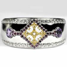 """Sterling Silver 5.70 Ct Garnet Amethyst GEMSTONE Womens Bangle Cuff Bracelet 7"""""""