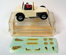 1960's Aurora Vibrator Slot Car - White Hot Rod Roadster w/ Slickster Decals