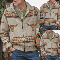 Mens Winter Warm Sweater Knitted Cardigan Long Sleeve Coat Knitwear Outwear Tops