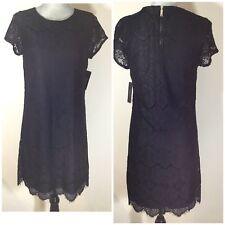 $148 LAUNDRY SHELLI SEGAL Size 8 Short Sleeves Black Lace Shift Dress Nordstrom