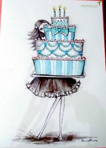 Papyrus Bella Pilar Girl Holding Gemmed  Birthday Cake Greeting Card