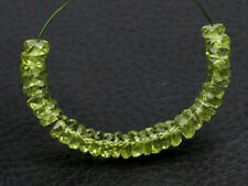 AAA Natural Green Peridot Faceted Rondelle Wheel Gemstone Beads (01005)