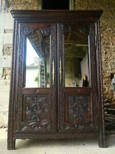 Fantastic Antique French Normandy Marriage Armoire, 18th Century
