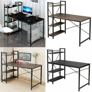 Corner Home Office Computer PC Desk Writing Table 120cm Wood Bookshelf 4 Tiers