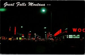Central Avenue at Night, Great Falls MT Woolworth Neon Vintage Postcard A42