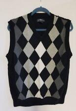 PGA Tour Argyle Knitted Vest Mens Cotton Golf Sweater Vest Black Grey Ivory Sz L
