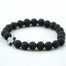 Mens Hematite Cross-Shaped Lava Stone Beads Stretchable Charming Bracelet