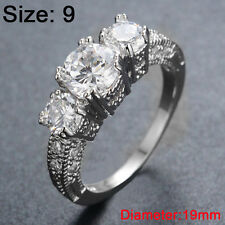 Size 6-9 White Sapphire Engagement Wedding Ring Silver Plate Crystal Rhinestone 9