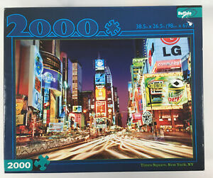 2000 Piece Buffalo Games Jigsaw Puzzle Times Square New York NY w/ Bonus Poster