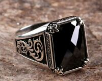 Turkish 925 Sterling Silver Special black onyx stone mens man ring ALL SİZE US2