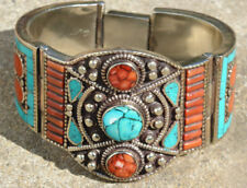 Beautiful Tribal Tibetan Silver Bracelet with Turquoise & Coral