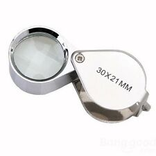 30 x 21mm Glass Jeweler Loupe Eye Magnifier Magnifying No Box,Silver UK Sell