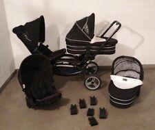 ABC Zoom Geschwisterwagen Zwillingskinderwagen schwarz weiß mit Babysave Adapter