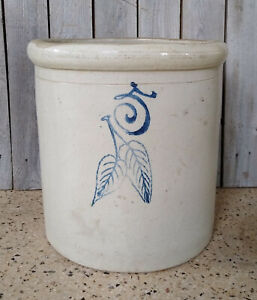 Vintage Antique Primitive 5 Gallon Red Wing Birch Leaf Stoneware Crock