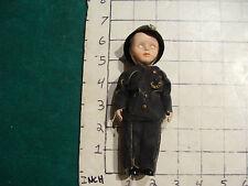 vintage Doll: small PLASTIC POLICE MAN DOLL w sleepy eyes