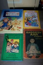 3 Vintage Raggedy Ann & Raggedy Ann's Hardback Books + Coloring Book