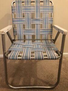 Vintage Retro Aluminum Folding Chair Beach Lawn Patio Webbed Strap Blue