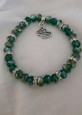 Hand made green crystal glass beaded bracelet with Map of Ireland charm gift bag