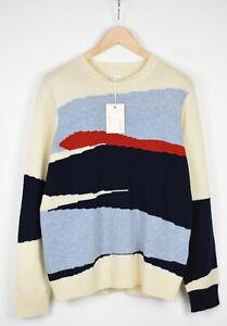 GANT INTARSIA BLOCK JAQUARD Men MEDIUM Pure Wool Warm Crew Neck Sweater 19014