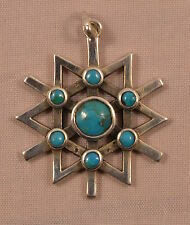 TOP DESIGNER Kreuz Anhänger 925 Silber cross pendant Navajo Türkis Mexico INRI