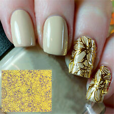 1Sheet Embossed 3D Nail Stickers Gold Blooming Flower Nail Decals