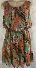 Ark & Co. Sleeveless Short Geometric Dress Elastic Waist Size Small Multi color