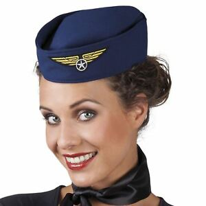 Ladies Mens Pilot Hat Cap Air Hostess Stewardess Hen Do Fancy Dress Costume