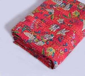 Floral Print Indian Cotton Handmade Kantha Quilt Bedspread Throw Twin Blanket