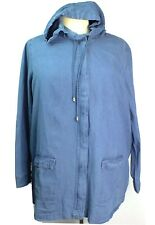 NEW Woman Within Blue Plus Size 2X Jacket Coat Denim Zip Front Hooded Pockets